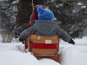 two children being pulled through snow on sled